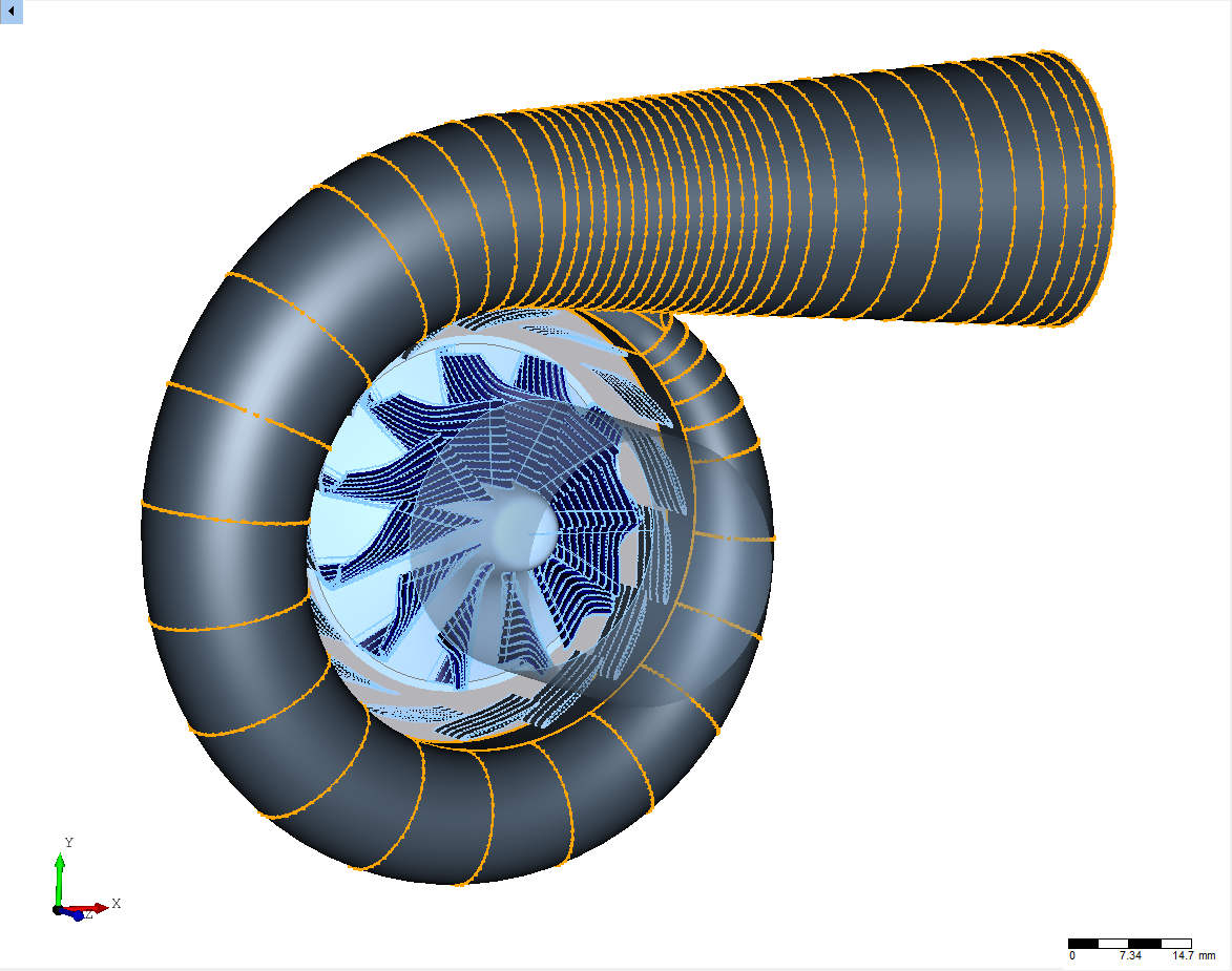 CFturbo centrifugal radial centrigugal turbine  general view