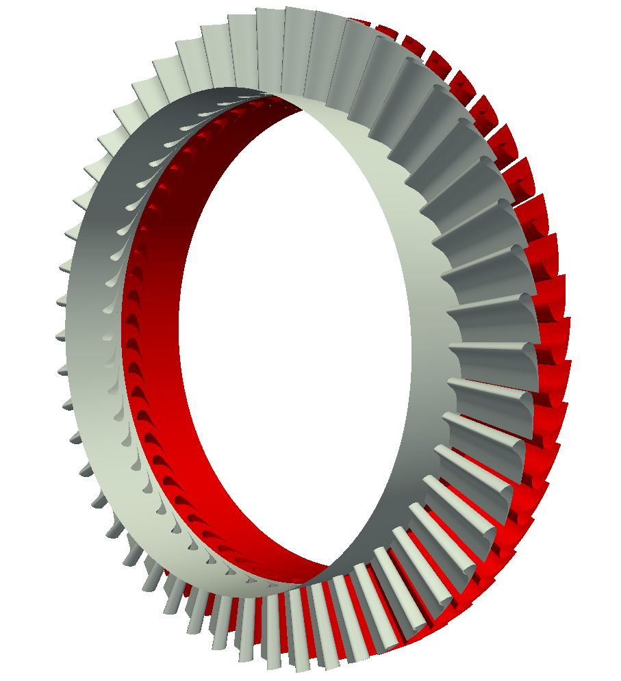 Axial turbine Full Wheel Stator Rotor turbomachinery CFD view 2