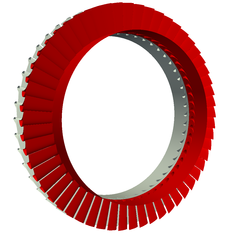 Axial turbine Full Wheel Stator Rotor turbomachinery CFD view 3