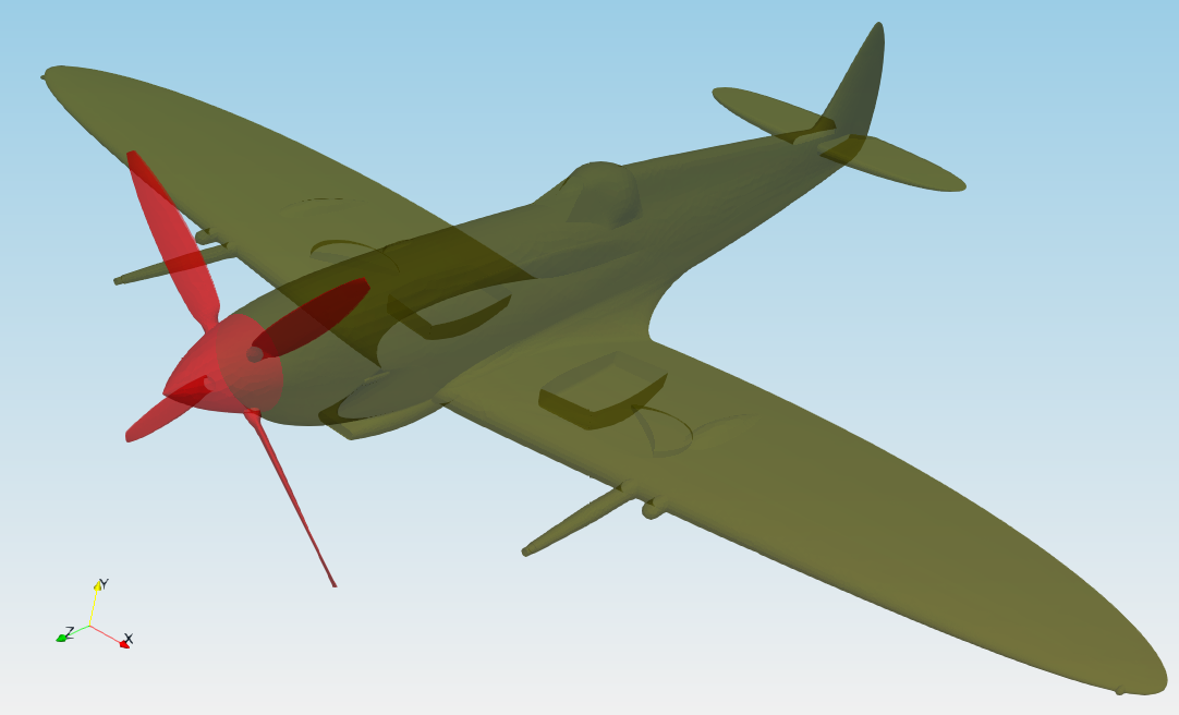 TCFD Spitfire tutorial geometry left view