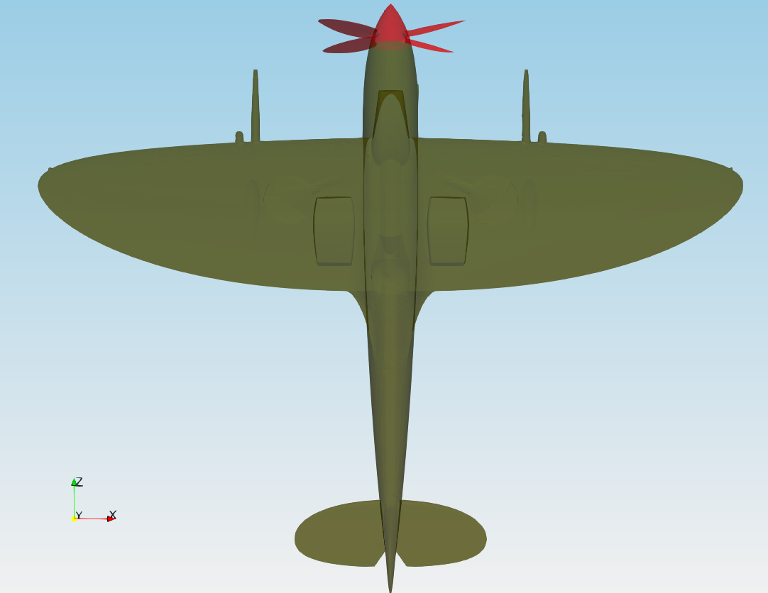 TCFD Spitfire tutorial geometry front view