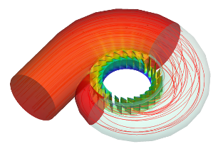 CFD Francis Water Turbine Stay Pressure Velocity Streamtraces