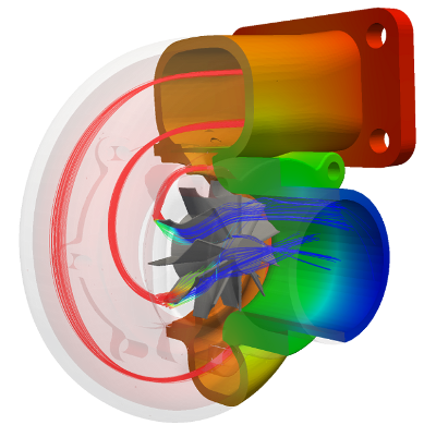 Radial centrifugal turbine CFD OpenFOAM results pressure distribution